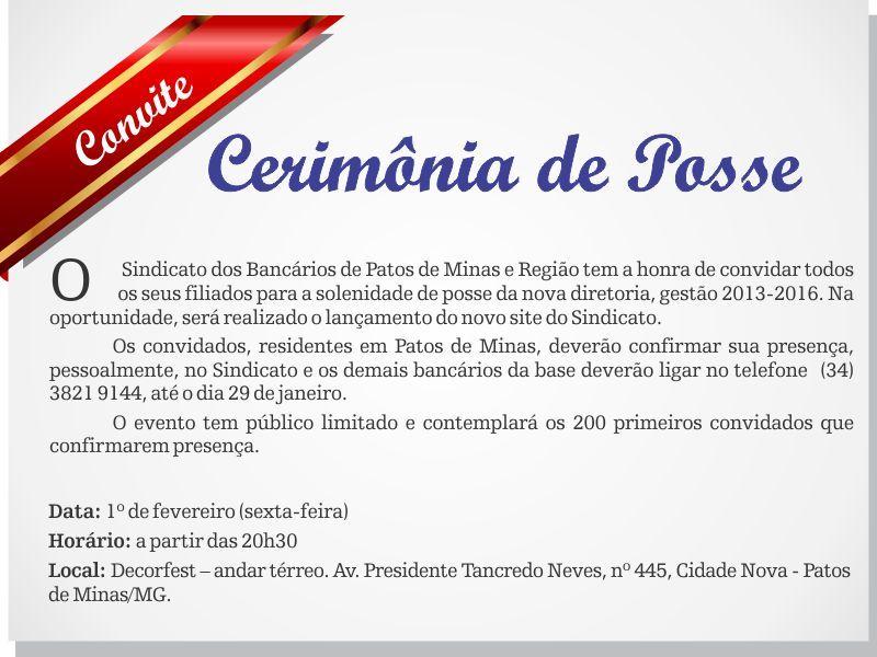 Convite para Cerimônia de Posse da nova diretoria do sindicato